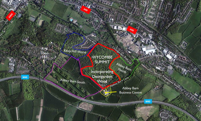 Plan showing the Wycombe Summit site and the immediate surroundings